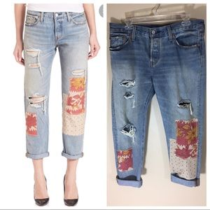 Levi's 501 High Waisted Patchwork Distressed Jean